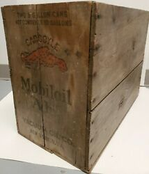 Mobil Oil Gargoyle Logo Vintage Two 5 Gallon Wood Crate Box Early 1930's