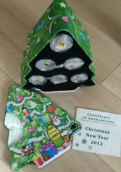 2012 Liberia 2 Christmas New Year - 1/2oz Silver Proof 6 Coin Set - Complete