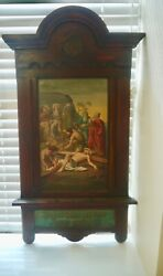 Original German Oil Painting Of Jesus Christ Being Nailed To The Cross 1700s