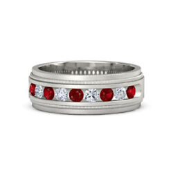 0.60 Ct Real Ruby Sapphire Wedding Ring Solid 14k White Gold Men's Band 10 12