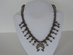 Old Navajo Squash Blossom Necklace - Sterling Silver