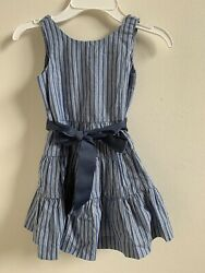 NWT Polo Ralph Lauren Girls Striped Cotton Dress Demin Blue Sz 10