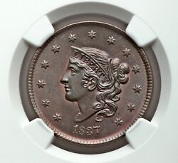🏆 Top Pop One Of The Best 1837 1c Ngc Ms66 Bn Coronet Head Large Cent N-13 R2