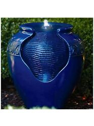 """Outdoor Water Fountain 17"""" Glazed Pot Fountain With Led Light And Pump A"""