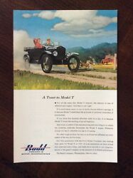 1953 Vintage Original Color Ad Budd A Toast To The Model T