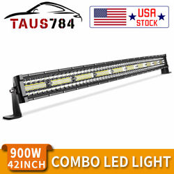 42 Inch 1050w Curved Led Light Bar Tri-row Combo Off-road Driving Work Mpv 44