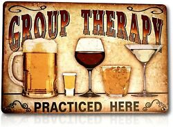 Group Therapy Practiced Here Sign Funny Alcohol Wine Pub Metal Tin Decor 8x12