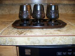 Vintage 6 Exotic Wood Carved Cordial Cups Goblets With Serving Tray Very Ornate