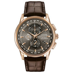 Citizen Eco-drive Menand039s World Time Chronograph Rose Gold 43mm Watch At8113-04h