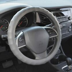 New Premium Genuine Leather Car Truck Grey Steering Wheel Cover - Large Size