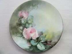 Beautiful Antique Thomas Of Bavaria 6 Plate Signed Mattee Roses.