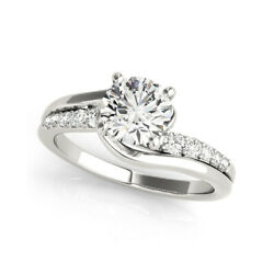 0.65 Ct Real Round Diamond Engagement Ring 14k White Gold Size 6 7 9.5