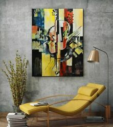 Original Abstract Painting On Canvas Music Of Silence 30x40 Yellow Blue Black