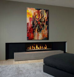 Original Abstract Painting On Canvas Colors Of Fire 30x40 Yellow Red Black