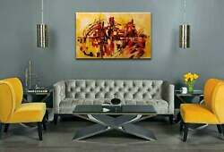 Original Abstract Painting On Canvas Sunrise 48x30 Yellow Red Black