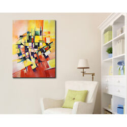 Original Abstract Painting On Canvas Labyrinth Of Lines 30x40 Red Yellow Black