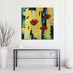 Original Abstract Painting On Canvas Airy Poppies 36x36 Red Yellow Black Blue