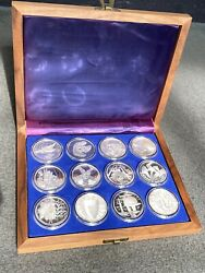 Set Of 12 The Spirit Of America .999 Fine Silver Medals 25 Oz. .999 Silver