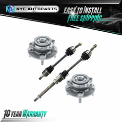 4pc Front Cv Axle And Front Wheel Hub And Bearing For 07-12 Nissan Versa 1.8l W/ Cvt