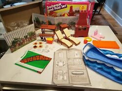 Mostly Complete Vintage Sears Exclusive Barbie Barbeque And Pool Set 70's
