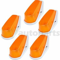 5x Cab Roof Light Marker Amber Case + Base Housing For 80-97 Ford F-150 F-250