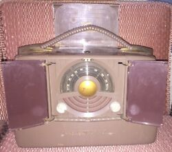 Vintage 40s 50s Zenith Wavemagnet Am Portable Radio Model 6g801 Untested As Is