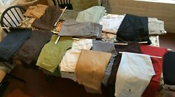 Lot Of 17 Men's Chinos/pants 33-34w - 29-32l - Bonobos, Polo, Dockers And More