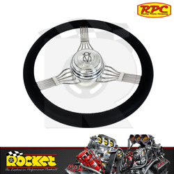 Rpc 15 Chrome Billet V8 Style Steering Wheel W/leather Grip Fits Gm - Rpcr5625