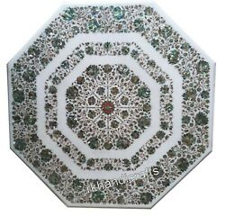 54 Inch Marble Island Table Top Inlay with Shiny Gem Stone Hall Table Home Decor