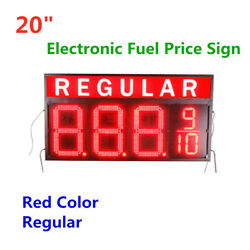 20 Regular Led Gas Station Electronic Fuel Price Sign Red Color Remote Control