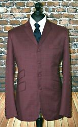 Mod Suit Maroon And Navy Check Suit 3 Button Slim Fitting Suit 1960's 3 Button