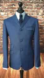 Mod Suit Navy And Red Check Suit 3 Button Slim Fitting Suit 1960's 3 Button