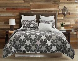 Gray Farmhouse Star Queen Size Printed Quilt Set Country Primitive