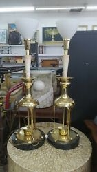 Vintage Statuesque James Mont Style Asian Brass Table Lamps No Shades
