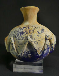 X-rare Chinese Tang Dyn. Translucent Blue Glass Perfume Bottle With Dragon