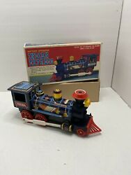 Vintage Battery Operated Mystery Action Indian Express Locomotive Tin Train