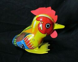 Tps Pop Tin Litho Wind-up Toy - Colorful Large Rooster / Chicken - Japan. Works