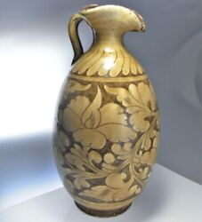Ancient Stonware Ewer Song Dynasty Peony Decoration Slip Painted Artifact 11th C