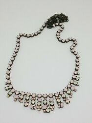 Sorrelli Opalescent Pink And White Crystal Antiqued Brass Tone Collar Necklace