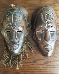 """Vintage African Masks Hand Carved Wood 10 1/2"""" - Applied Wire Of Frog And Fly"""