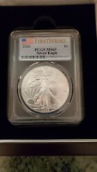 2020 1 Dollar American Silver Eagle Coin Pcgs Ms69 First Strike