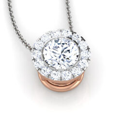 0.89 Ct Round Cut Real Diamond Pendant Solid 14k Rose Gold For Women Wedding