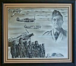 Claire Lee Chennault P40 Flying Tigers Original Charcoal Robert Stephen Simon
