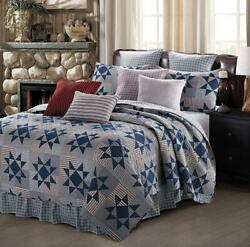 Farmhouse Blue Eight Point Star Printed Queen Quilt Set Primitive Barn Country