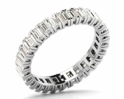 Claw Set 2.50ct Baguette Cut Diamonds Full Eternity Wedding Ring In White Gold