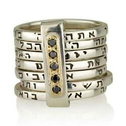 14k Gold And Silver Seven Blessings Kabbalah Ring With Rubies/diamonds Wedding