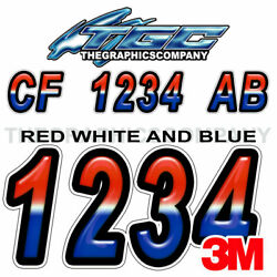 Red White Blue Custom Boat Registration Numbers Decals Vinyl Stickers 2sets