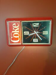 Vintage 1984 Enjoy Coke Lighted Electric Clock Made By Ridan Displays Ny