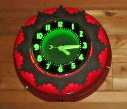 RETRO AZTEC NEON GREEN RED CLOCK NEW CONDITION READY TO HANG!