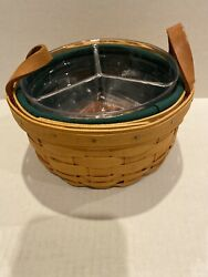 Longaberger 2001 Button Basket With Three Way Divided Protector Liner + Extra